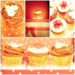 Chocolate cupcakes, collage  — Stock Photo #74209515