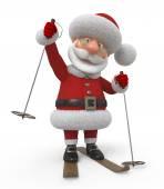 3d Santa Claus on skis — Stock Photo
