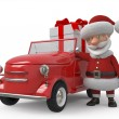 3d Santa Claus by car — Stock Photo #56292591