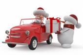 車の 3 d サンタ クロース — ストック写真