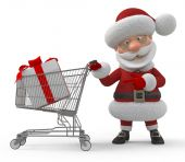 3d Santa Claus in shop — Stockfoto