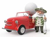 3d little man golfist  by car — Stock Photo