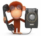 The monkey with phone — Stock fotografie