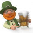 Saint Patrick with a billboard and beer — Stock Photo #65981123