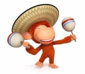 3d monkey costs in a sombrero maracases — Stock Photo