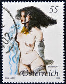 AUSTRIA - CIRCA 2008: A stamp printed in Austria shows naked woman by Dina Larot, circa 2008 — Stockfoto
