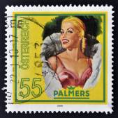 AUSTRIA - CIRCA 2009: A stamp printed in Austria shows a blond women, palmers, circa 2009 — Zdjęcie stockowe