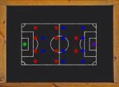 Football field with 4-4-2 formation on blackboard — Foto Stock