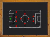 Football field with 4-4-2 formation on blackboard — Stock Photo