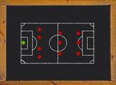 Football field with 4-3-3 formation on blackboard — Foto Stock