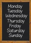 The weekdays written on a blackboard — Stock Photo