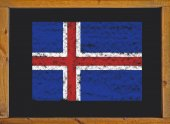 Iceland flag on a blackboard — Stock Photo