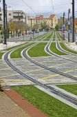 Light rail routes in the city, Granada, Spain — Stock Photo