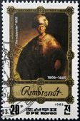 "DPR KOREA - CIRCA 1983: A stamp printed in North Korea shows Rembrandt painting ""the noble slav"", circa1983 — Stock Photo"
