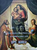 DPR KOREA - CIRCA 1983: A stamp printed in North Korea shows Sistine Madonna, Painting by Raphael, circa 1983 — Stock Photo