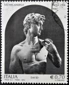 ITALY - CIRCA 2014: A stamp printed in Italy shows a statue of Michelangelo, David, circa 2014 — Stock Photo