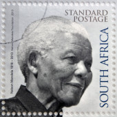 REPUBLIC OF SOUTH AFRICA - CIRCA 2014: A stamp printed in RSA shows Nelson Mandela, circa 2014 — Stock Photo