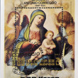 NORTH KOREA - CIRCA 1983: A stamp printed in DPR Korea shows a reproduction of Correggio or Antonio Allegri painting - Madonna and Child in Glory with Angels, circa 1983 — Stock Photo #61934137
