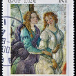 Постер, плакат: FRANCE CIRCA 2000: A stamp printed in France shows Detail of Venus and The Three Graces by Italian painter of the Early Renaissance Sandro Botticelli circa 2000