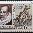 USSR - CIRCA 1966: A stamp printed in USSR shows portrait of Miguel de Cervantes Saavedra, Spanish writer, and Don Quixote, circa 1966 — Stock Photo #61934267