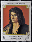 AJMAN - CIRCA 1968: A stamp printed in Ajman shows painting of Albrecht Durer - Portrait of Oswolt Krel, circa 1968 — ストック写真