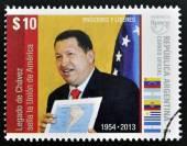 ARGENTINA - CIRCA 2014: A stamp printed in Argentina shows Hugo Rafael Chavez (1954-2013), President of Venezuela, circa 2014 — ストック写真