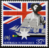 AUSTRALIA - CIRCA 1988: a stamp printed in Australia shows Australian colonist, first fleet vessel, Australia bicentennial, circa 1988 — Stock Photo
