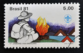 BRAZIL - CIRCA 1981: Stamp printed in Brazil dedicated to scout boys, circa 1981 — Stock Photo