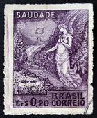 BRAZIL - CIRCA 1945: Stamp printed in Brazil commemorating the victory of the Allied Nations in Europe, shows allegorical figure, circa 1945 — Stock Photo