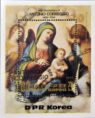 NORTH KOREA - CIRCA 1983: A stamp printed in DPR Korea shows a reproduction of Correggio or Antonio Allegri painting - Madonna and Child in Glory with Angels, circa 1983 — Stock Photo
