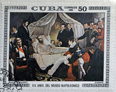 "CUBA - CIRCA 1981: A stamp printed in Cuba shows the ""Death of Napoleon"", anonymous, from the series ""Paintings in the Napoleon Museum"", circa 1981 — Stock Photo"