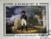 "CUBA - CIRCA 1981: A stamp printed in CUBA shows the ""Napoleon with Landscape in the Background"", by Jean Horace Vernet, from the series ""Paintings in the Napoleon Museum"", circa 1981 — Stock Photo"