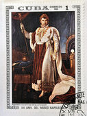 "CUBA - CIRCA 1981: A stamp printed in Cuba shows the ""Napoleon in Coronation Costume"", anonymous, from the series ""Paintings in the Napoleon Museum"", circa 1981 — Stock Photo"