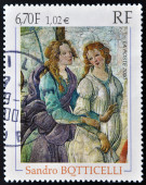 FRANCE - CIRCA 2000: A stamp printed in France shows Detail of Venus and The Three Graces by Italian painter of the Early Renaissance Sandro Botticelli, circa 2000 — Stock Photo