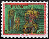 FRANCE - CIRCA 1676: A stamp printed in France shows Painting Woman's Head by French Armenian artist, painter and illustrator Jean Carzou, circa 1976 — Stok fotoğraf