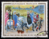 FRANCE - CIRCA 1965: a stamp printed in France shows Leaving for the Hunt, Miniature of Book of Hours of Jean de France, Painted by Flemish Brothers Limbourg, circa 1965 — Fotografia Stock