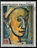 FRANCE - CIRCA 1971: A stamp printed in France shows painting The Dreamer by French Fauvist and Expressionist painter Georges Henri Rouault, circa 1971 — Stock Photo