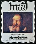 "MEXICO - CIRCA 1971: A stamp printed in Mexico from the ""luna 69"" issue shows Galileo Galilei (1564-1642), circa 1971. — Stock Photo"