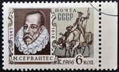 USSR - CIRCA 1966: A stamp printed in USSR shows portrait of Miguel de Cervantes Saavedra, Spanish writer, and Don Quixote, circa 1966 — Stock Photo