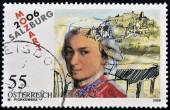 AUSTRIA - CIRCA 2006: a stamp printed in Austria shows image of Wolfgang Amadeus Mozart, circa 2006 — Stock Photo