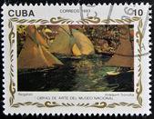 "CUBA - CIRCA 1993: A stamp printed in cuba shows the work ""races"" by Joaquin Sorolla, circa 1993 — Foto de Stock"