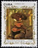 "CUBA - CIRCA 1993: A stamp printed in cuba shows the work ""child eating watermelon (1920) by Joaquin Sorolla, circa 1993 — Stock Photo"