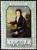 RAS AL KHAIMA - CIRCA 1970 : A stamp printed in Ras Al Khaima shows Ludwig van Beethoven (1770-1827), circa 1970 — Zdjęcie stockowe