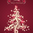 Beautiful Christmas Card in Red Colors with Christmas Tree and S — Stock Vector #53167711