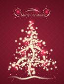 Schöne Weihnachtskarte in roten Farben mit Weihnachtsbaum und s — Stockvektor