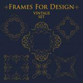 Vintage set of frames for design template vector art — Stock Vector