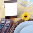 Close up of wedding table set, space for your text on blank card — Stock Photo #66165333