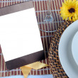 Close up of wedding table set, space for your text on blank card — Stock Photo #66165383