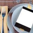 Close up of wedding table set, space for your text on blank card — Stock Photo #66165435