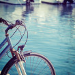 Vintage bicycle by the sea in Alghero — Stock Photo #56599291